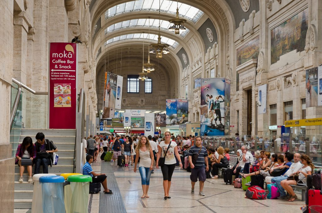 stazione centrale milan central railway station italy fast fashion shopping