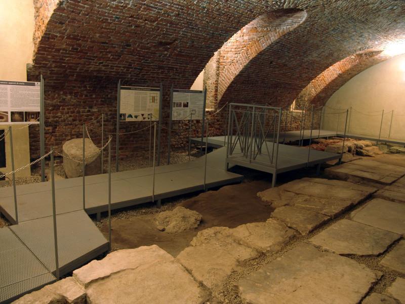 roman forum pavement underground Milan Italy
